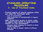 standard operating procedure 2 use of treatment codes