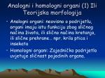 analogni i homologni organi 1 ili teorijska morfologija
