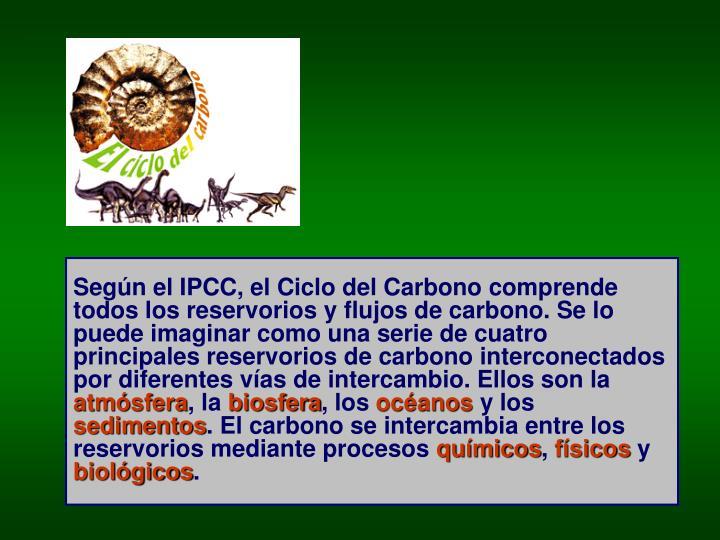 Según el IPCC, el Ciclo del Carbono comprende todos los reservorios y flujos de carbono. Se lo puede imaginar como una serie de cuatro principales reservorios de carbono interconectados por diferentes vías de intercambio. Ellos son la
