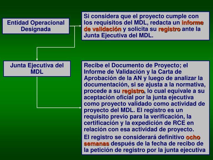 Si considera que el proyecto cumple con los requisitos del MDL, redacta un