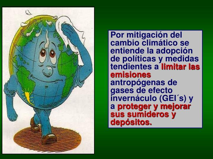 Por mitigación del cambio climático se entiende la adopción de políticas y medidas tendientes a