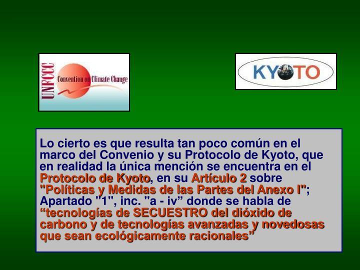 Lo cierto es que resulta tan poco común en el marco del Convenio y su Protocolo de Kyoto, que en realidad la única mención se encuentra en el