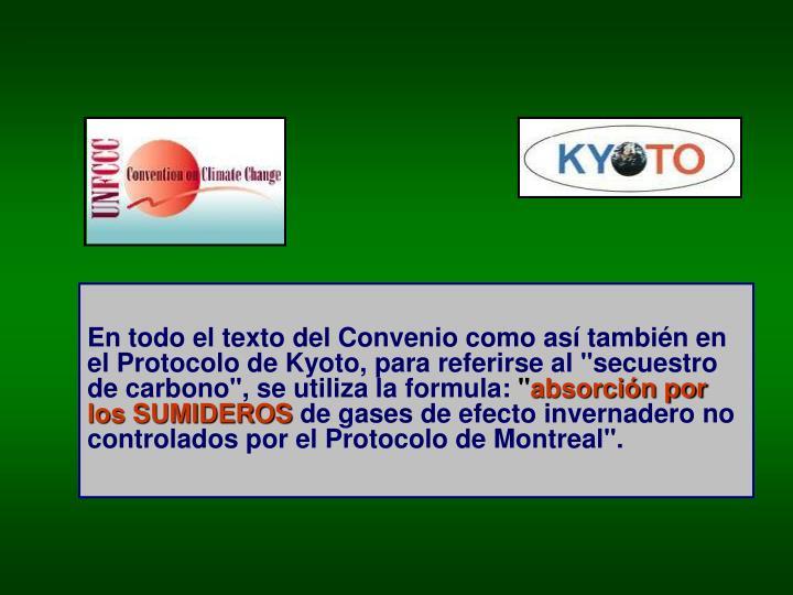 """En todo el texto del Convenio como así también en el Protocolo de Kyoto, para referirse al """"secuestro de carbono"""", se utiliza la formula:"""
