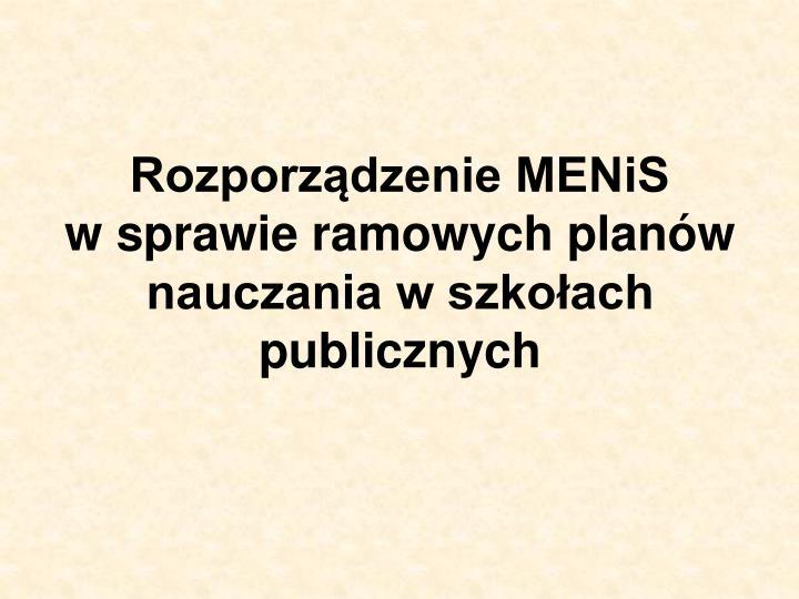 Rozporządzenie MENiS