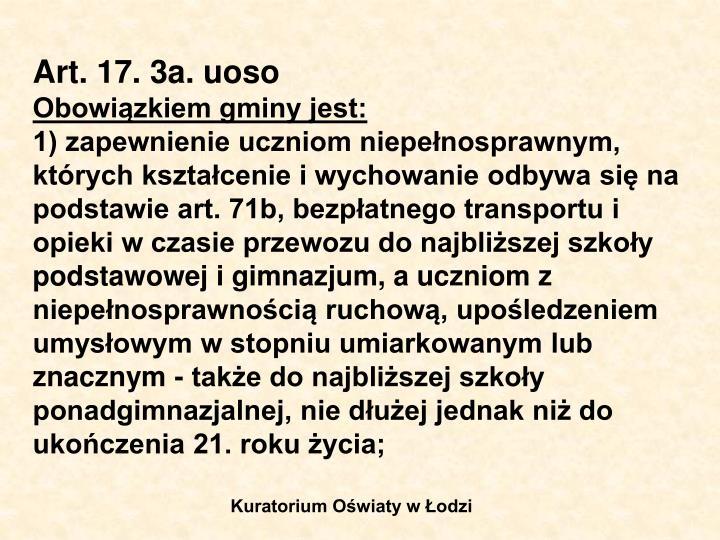 Art. 17. 3a. uoso