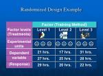 randomized design example