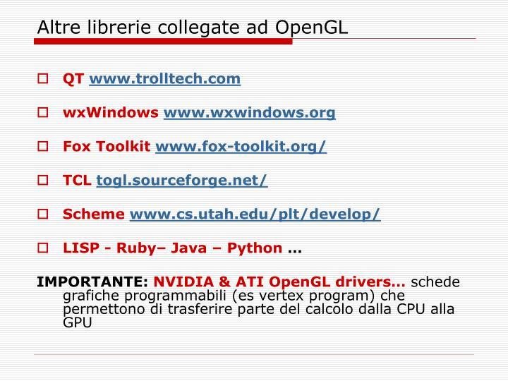 Altre librerie collegate ad OpenGL