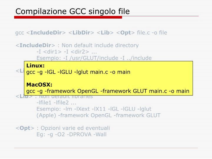 Compilazione GCC singolo file