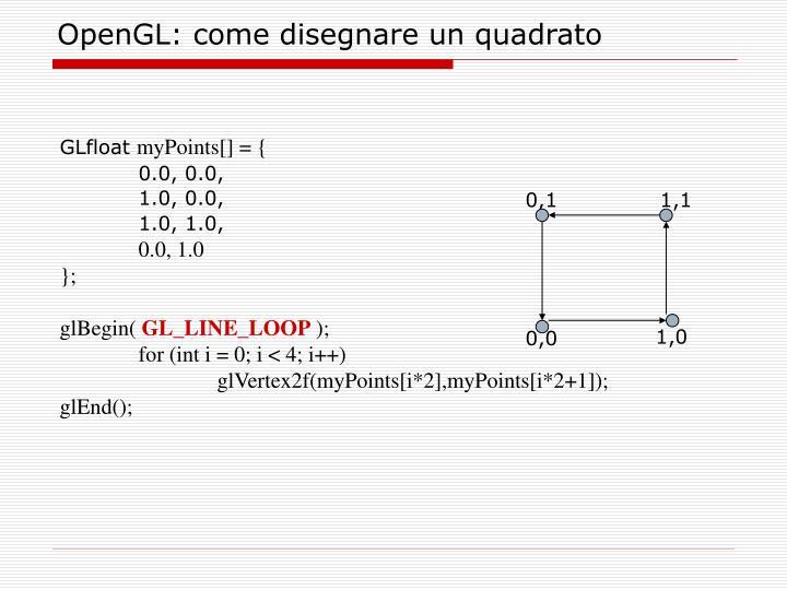OpenGL: come disegnare un quadrato