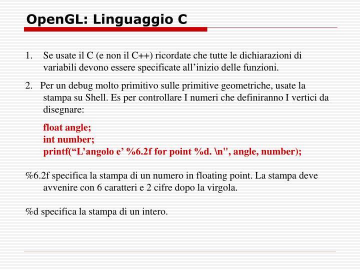 OpenGL: Linguaggio C