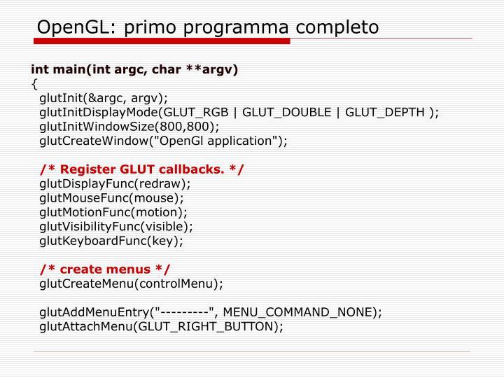 OpenGL: primo programma completo