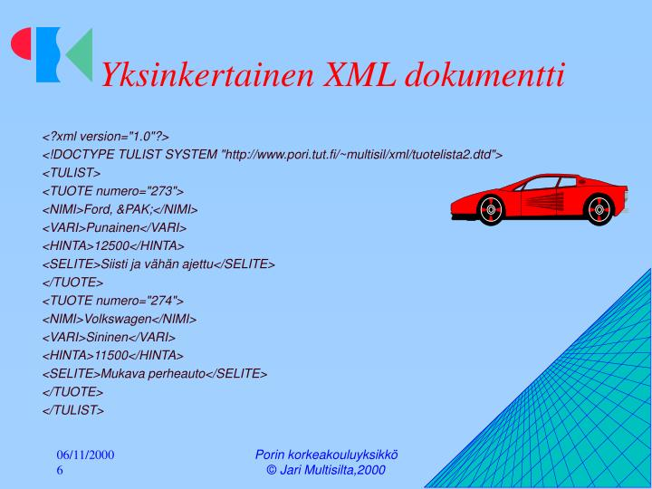 Yksinkertainen XML dokumentti