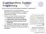 exact algorithms dynamic programming