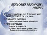 etiologies reconnues arsenic