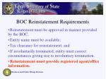 boc reinstatement requirements