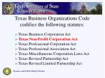 texas business organizations code codifies the following statutes