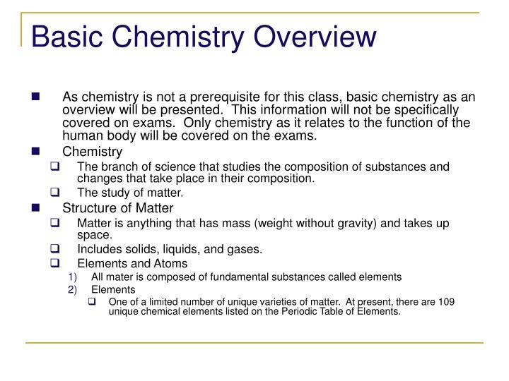 Basic chemistry overview