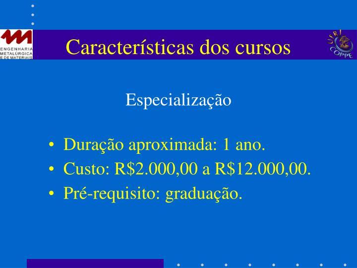 Características dos cursos
