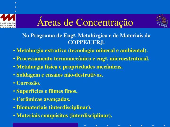 Áreas de Concentração