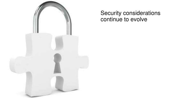 Security considerations continue to evolve
