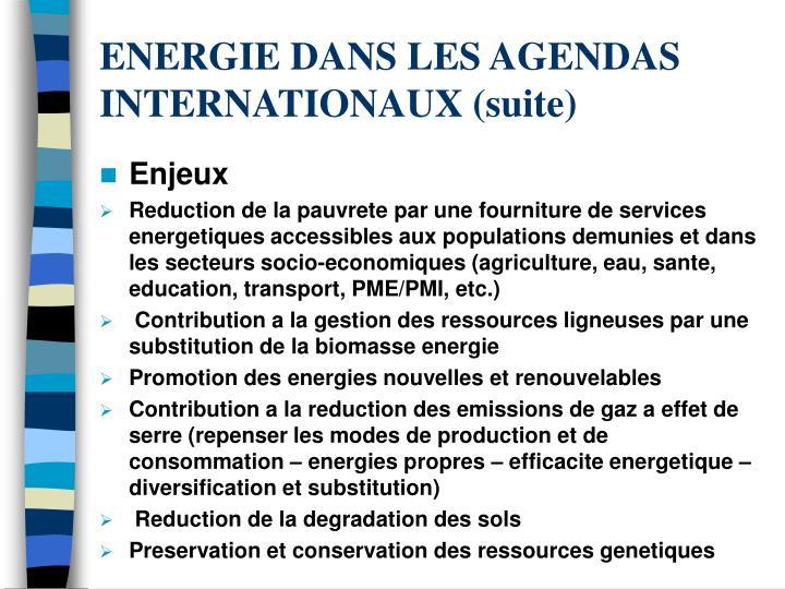 ENERGIE DANS LES AGENDAS INTERNATIONAUX (suite)