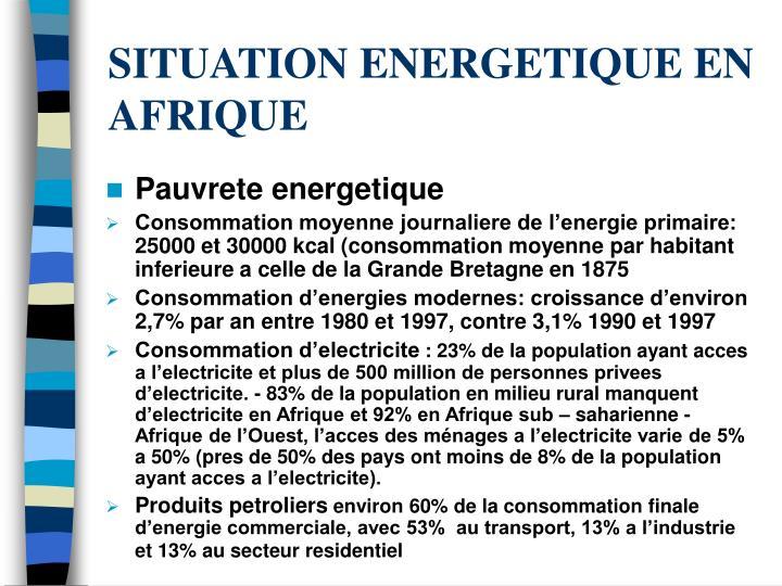 Situation energetique en afrique