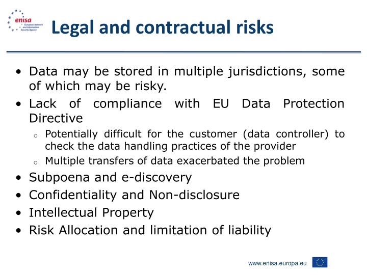 Legal and contractual risks