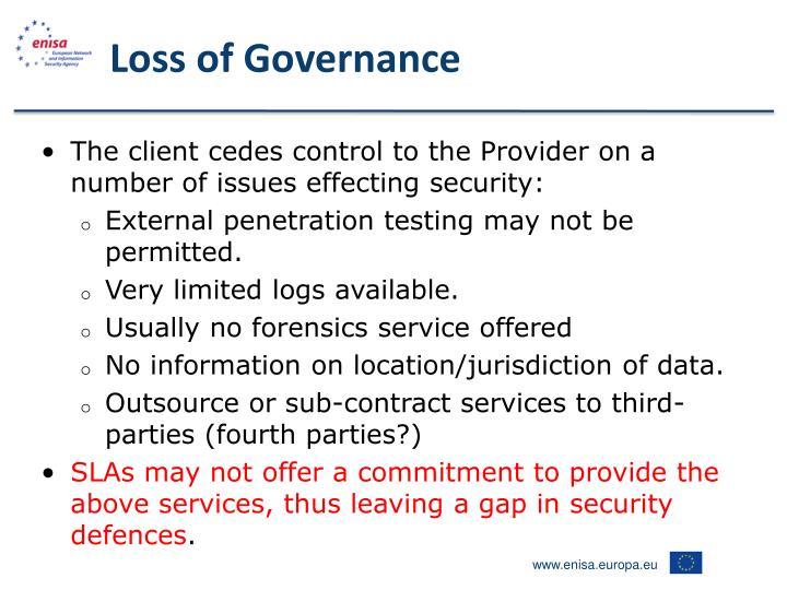 Loss of Governance