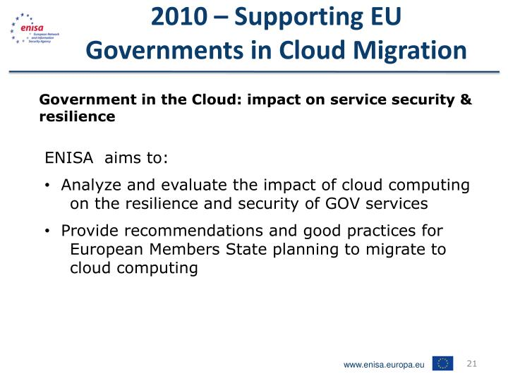 2010 – Supporting EU Governments in Cloud Migration