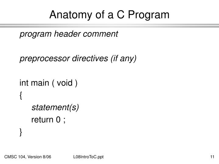 Anatomy of a C Program