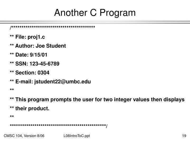 Another C Program