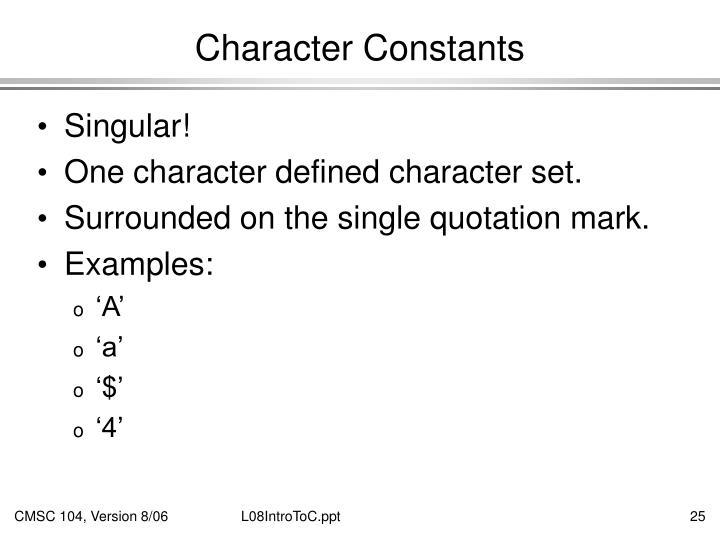 Character Constants