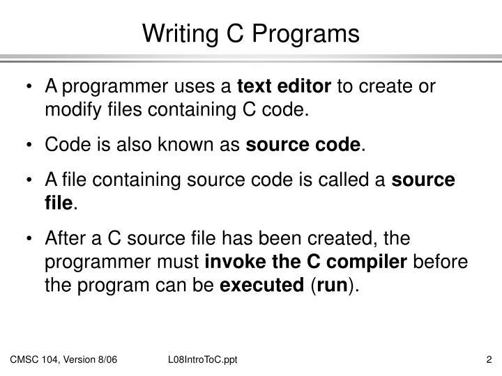 Writing c programs
