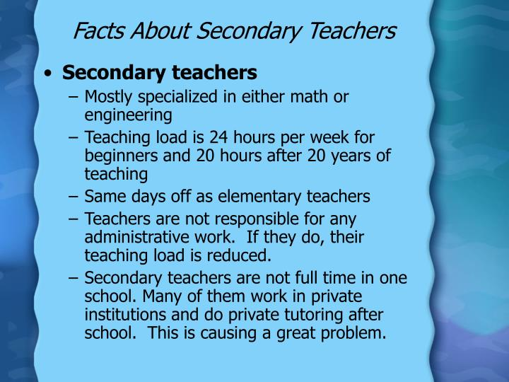 Facts About Secondary Teachers