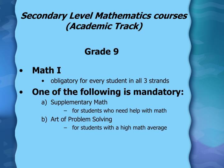 Secondary Level Mathematics courses