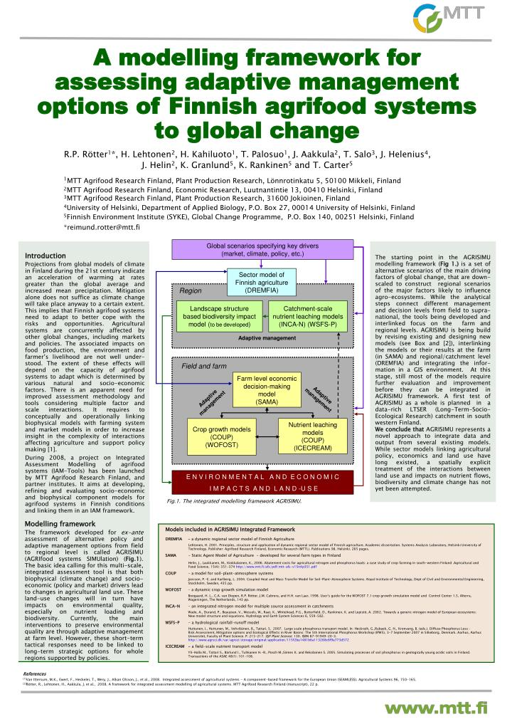 A modelling framework for assessing adaptive management options of finnish agrifood systems to global change