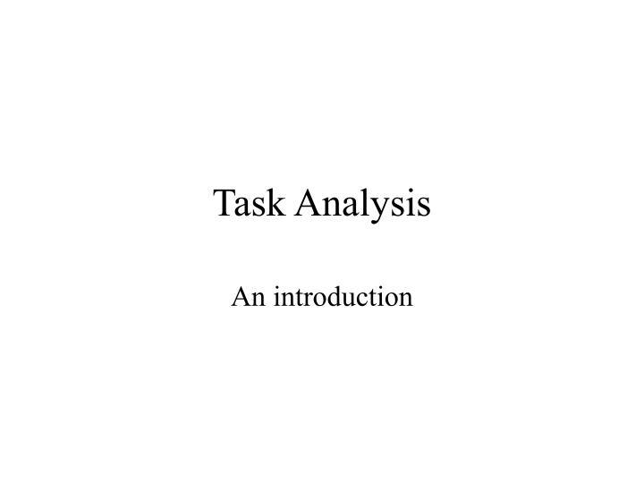task analysis n.