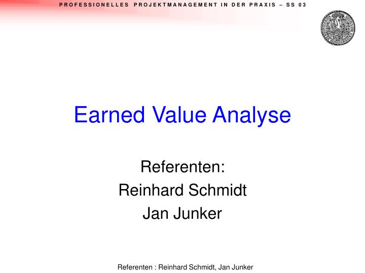 earned value analyse n.