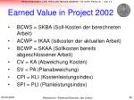 earned value in project 2002