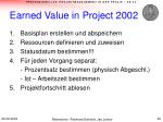 earned value in project 20021