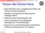 nutzen des earned value
