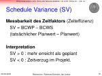 schedule variance sv