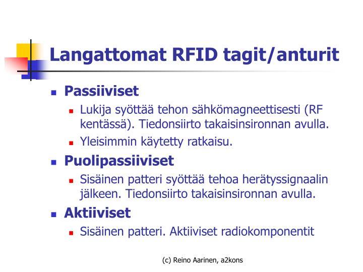 Langattomat RFID tagit/anturit