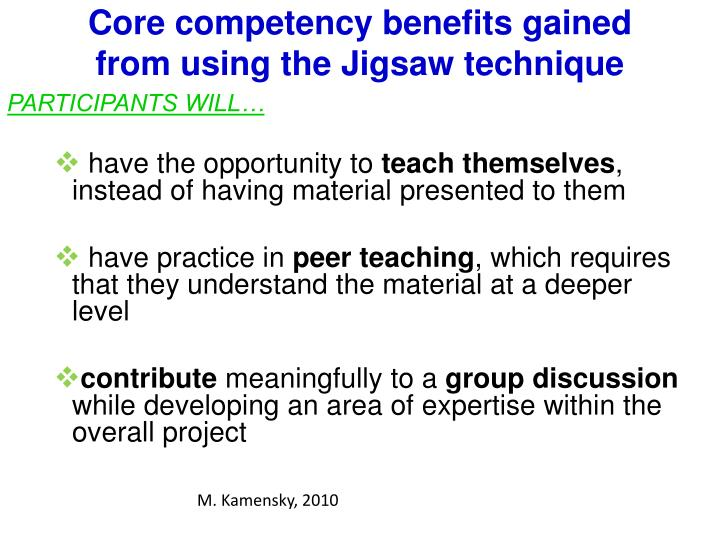 Core competency benefits gained