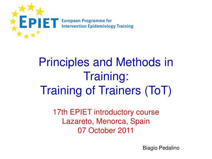 Principles and methods in training training of trainers tot