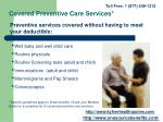 covered preventive care services
