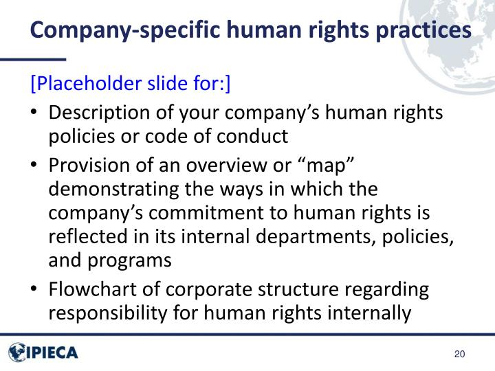 Company-specific human rights practices