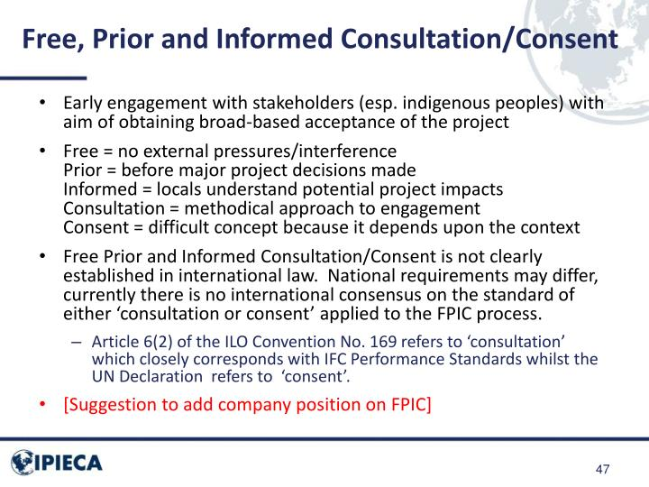 Free, Prior and Informed Consultation/Consent