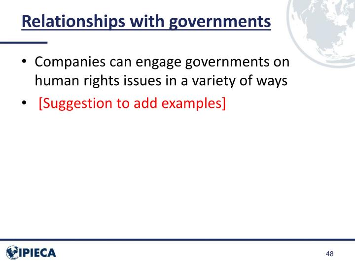 Relationships with governments