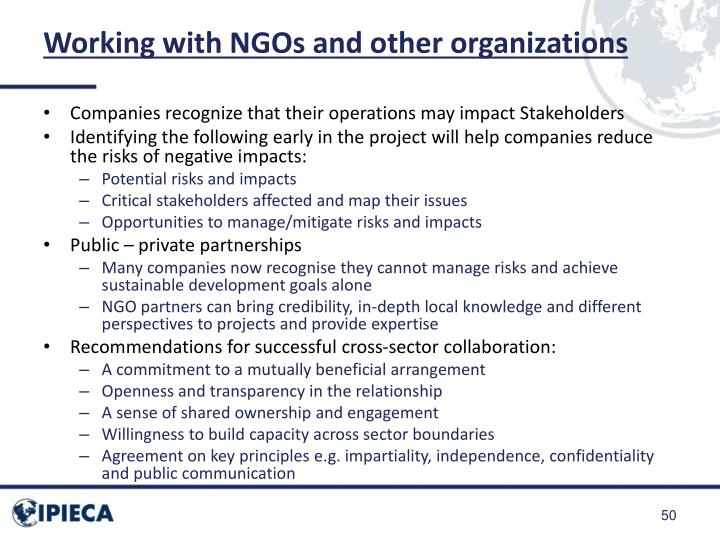 Working with NGOs and other organizations